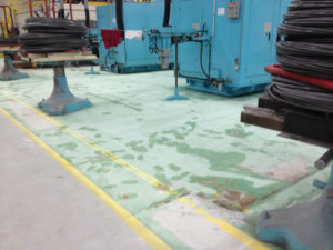 An industrial floor that need to be refinished